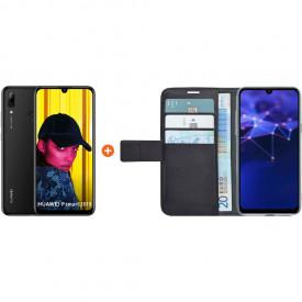 Huawei P Smart (2019) Zwart + Azuri Wallet Magneet Book Case Zwart – Telefoonstore.nl
