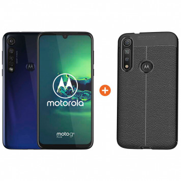 Motorola Moto G8 Plus Blauw + Just in Case Soft Design Back Cover Zwart