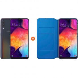 Samsung Galaxy A50 Zwart + Samsung Wallet Book Case Zwart/Blauw – Telefoonstore.nl
