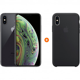 Apple iPhone Xs 64Gb Space Gray + Apple iPhone Xs Silicone Back Cover Zwart – Telefoonstore.nl