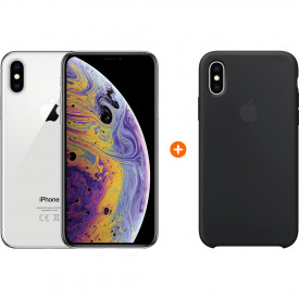 Apple iPhone Xs 64Gb Silver + Apple iPhone Xs Silicone Back Cover Zwart – Telefoonstore.nl