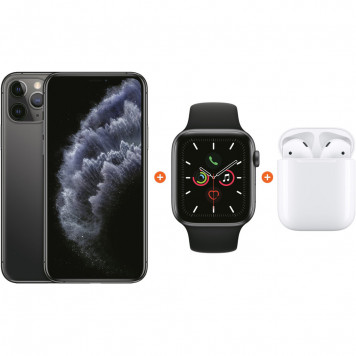 Apple iPhone 11 Pro 64 GB Space Gray + Apple Watch 5 44mm + Apple AirPods 2 met oplaadcase