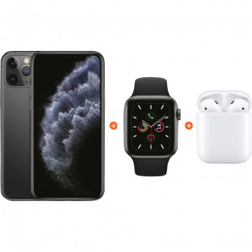 Apple iPhone 11 Pro 64 GB Space Gray + Apple Watch 5 40mm + Apple AirPods 2 met oplaadcase
