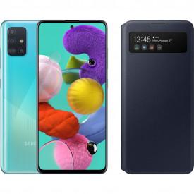 Samsung Galaxy A51 Blauw + Samsung S View Wallet Cover Zwart – Telefoonstore.nl