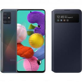 Samsung Galaxy A51 Zwart + Samsung S View Wallet Cover Zwart – Telefoonstore.nl