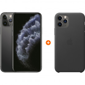 Apple iPhone 11 Pro 256 GB Space Gray + Apple iPhone 11 Pro Leather Back Cover Zwart – Telefoonstore.nl