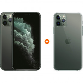 Apple iPhone 11 Pro 64 GB Midnight Green + Apple iPhone 11 Pro Clear Case – Telefoonstore.nl