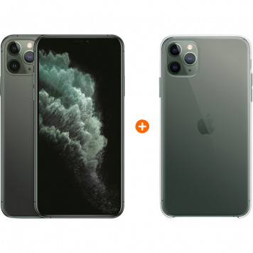 Apple iPhone 11 Pro Max 256 GB Midnight Green + Apple iPhone 11 Pro Max Clear Case