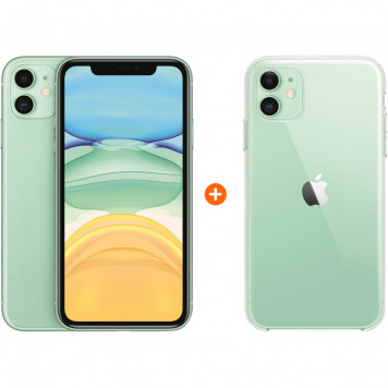 Apple iPhone 11 128 GB Groen + Apple iPhone 11 Clear Case