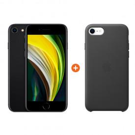 iPhone SE 128 GB Zwart + Apple iPhone SE Leather Back Cover – Telefoonstore.nl