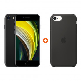 Apple iPhone SE 2 64 GB Zwart + Apple iPhone SE Silicone Back Cover Zwart – Telefoonstore.nl