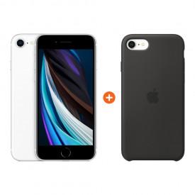 Apple iPhone SE 2 64 GB Wit + Apple iPhone SE Silicone Back Cover Zwart – Telefoonstore.nl