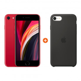 Apple iPhone SE 2 64 GB RED + Apple iPhone SE Silicone Back Cover Zwart – Telefoonstore.nl