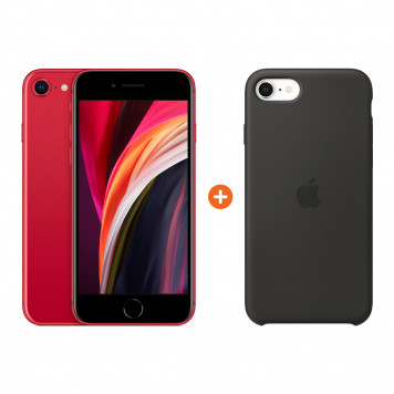 Apple iPhone SE 2 64 GB RED + Apple iPhone SE Silicone Back Cover Zwart