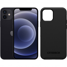 Apple iPhone 12 128GB Zwart + Otterbox Symmetry Back Cover Zwart – Telefoonstore.nl