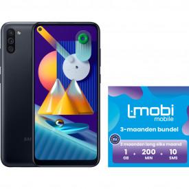 Samsung Galaxy M11 32GB Zwart + L-mobi simkaart met 3 maanden 1GB, 200 minuten & 10 smsjes – Telefoonstore.nl
