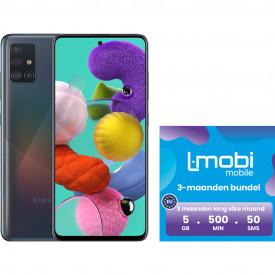 Samsung Galaxy A51 128GB Zwart + L-mobi simkaart met 3 maanden 5GB 500 minuten & 50 smsjes – Telefoonstore.nl