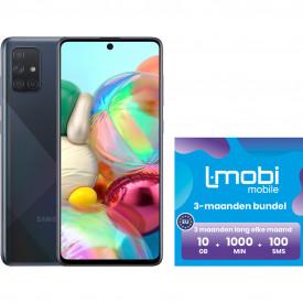Samsung Galaxy A71 128GB Zwart + L-mobi simkaart 3 maanden 10GB, 1000 minuten & 100 smsjes – Telefoonstore.nl