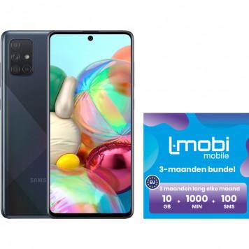 Samsung Galaxy A71 128GB Zwart + L-mobi simkaart 3 maanden 10GB