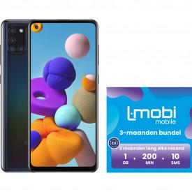 Samsung Galaxy A21s 64GB Zwart + L-mobi Simkaart met 1 GB Databundel – Telefoonstore.nl