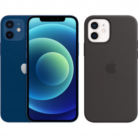 Apple iPhone 12 64GB Blauw + Apple iPhone 12 (Pro) Silicone Back Cover met MagSafe Zwart – Telefoonstore.nl
