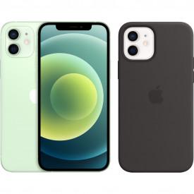 Apple iPhone 12 128GB Groen + Apple iPhone 12 (Pro) Silicone Back Cover met MagSafe Zwart – Telefoonstore.nl
