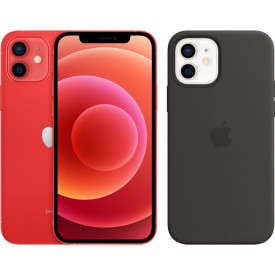 Apple iPhone 12 128GB RED + Apple iPhone 12 (Pro) Silicone Back Cover met MagSafe Zwart – Telefoonstore.nl