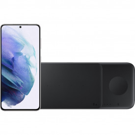Samsung Galaxy S21 128GB Wit 5G + Samsung Trio Draadloze Oplader 9W Zwart – Telefoonstore.nl