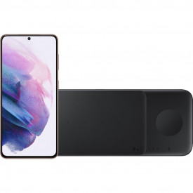 Samsung Galaxy S21 128GB Paars 5G + Samsung Trio Draadloze Oplader 9W Zwart – Telefoonstore.nl