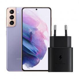 Samsung Galaxy S21 128GB Paars 5G + Samsung Snellader Zonder Kabel 25W – Telefoonstore.nl
