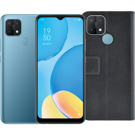 OPPO A15 32GB Blauw + Azuri OPPO A15 Wallet Book Case Zwart – Telefoonstore.nl