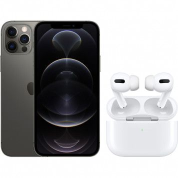 Apple iPhone 12 Pro 256GB Grafiet + Apple AirPods Pro met Draadloze Oplaadcase